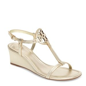 Tory Burch Miller Sandal Gold Metallic Wedge 8 1/2